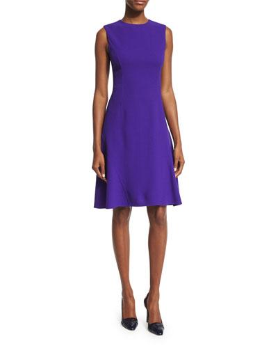 Sleeveless Jewel-Neck Day Dress, Violet