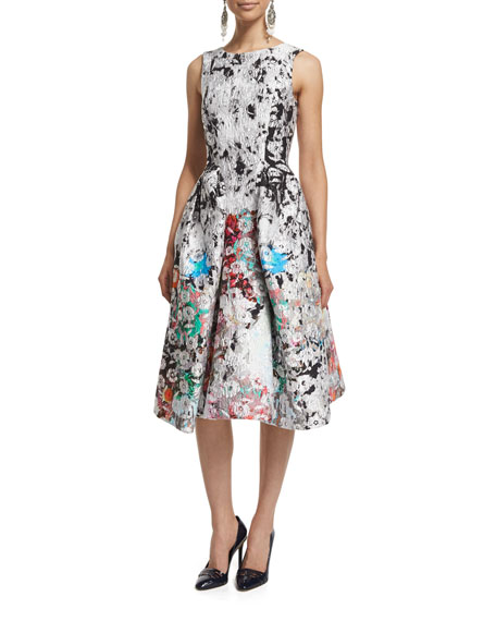 Oscar de la Renta Sleeveless V-Back Printed Silk