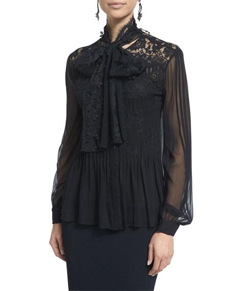 Oscar de la Renta Long-Sleeve Blouse W/Lace Inset,