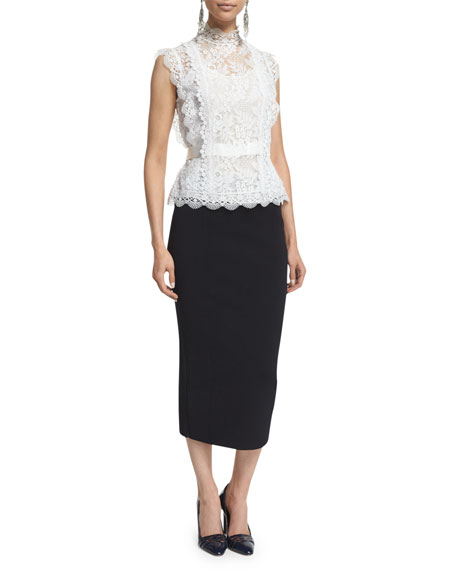 Sleeveless Lace Blouse, Ivory
