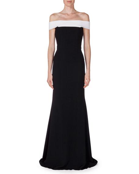 Roland Mouret Lamble Off-The-Shoulder Two-Tone Gown, Black/White