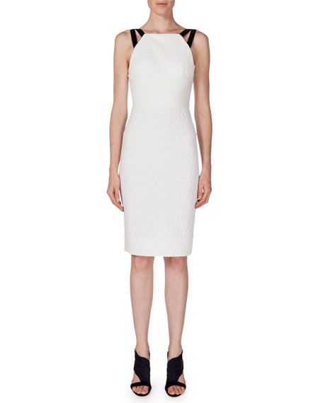 Roland Mouret Elvaston Sleeveless Sheath Dress, White/Black