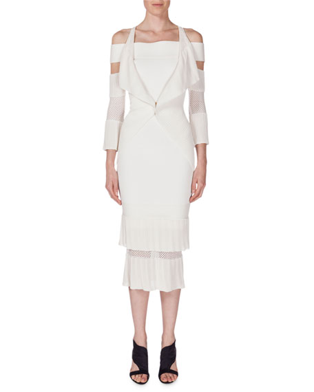 Roland Mouret Brewer Cold-Shoulder One-Button Cardigan, White