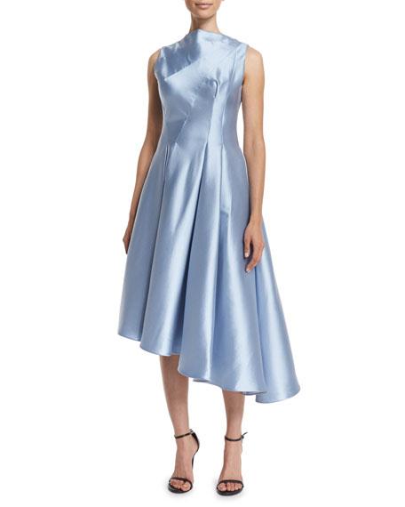 Sleeveless Asymmetric Cocktail Dress, Sky