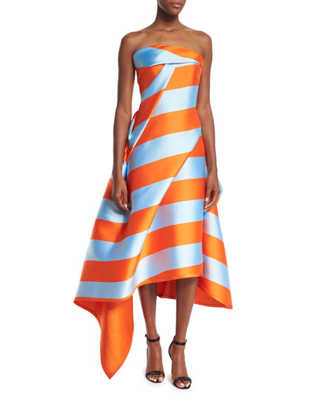 Strapless Wide-Striped Midi Dress, Orange/Sky