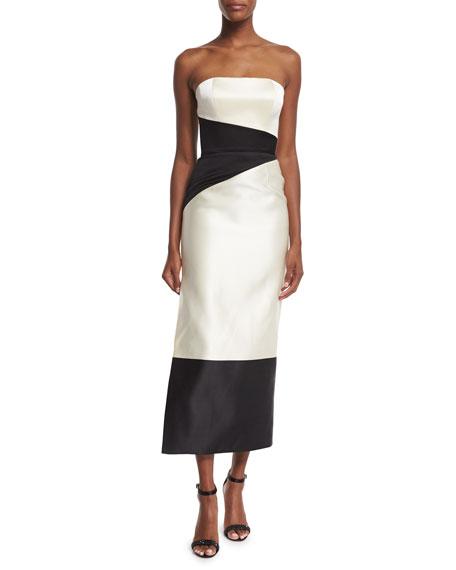 Rubin Singer Strapless Colorblock Column Midi Gown, Ivory/Black