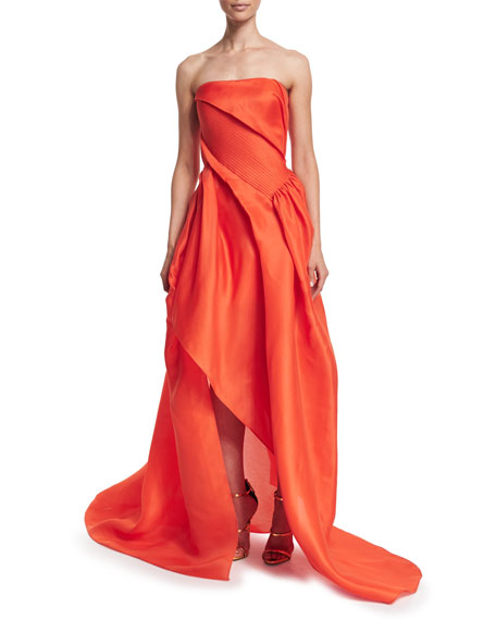 Rubin Singer Strapless Draped Gown, Orange