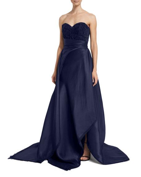 Rubin Singer Sweetheart-Neck Ball Gown, Navy