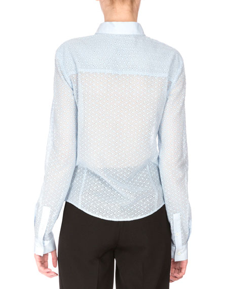 Nora Button-Front Lace Blouse, Pale Blue