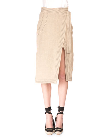 Altuzarra Crinkled Linen Button-Down Top w/Keyhole Back &