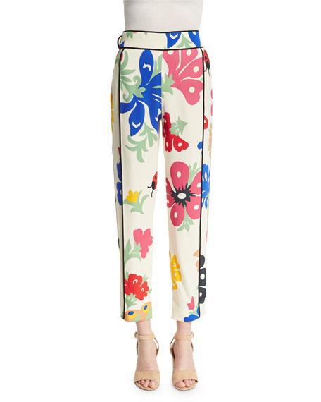 Victoria Victoria Beckham Printed Pajama-Style Pants, Folk Forest