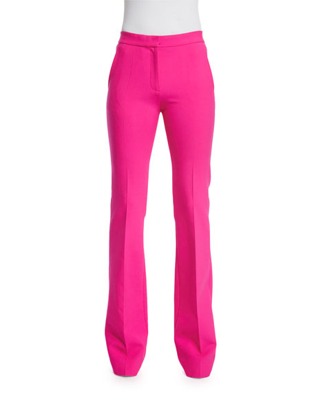Victoria Victoria Beckham Mid-Rise Flare-Leg Pants, Fuchsia
