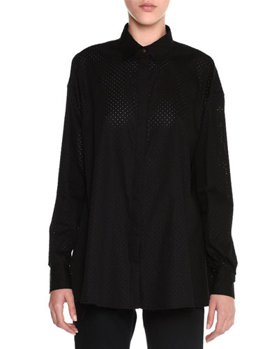 Perforated Balloon-Back Blouse, Black