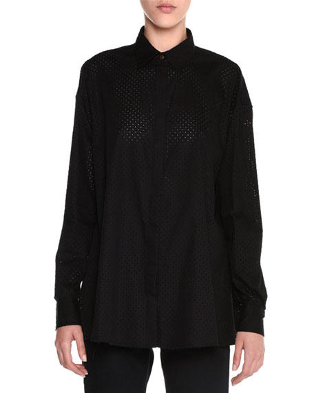 Tomas Maier Perforated Balloon-Back Blouse, Black