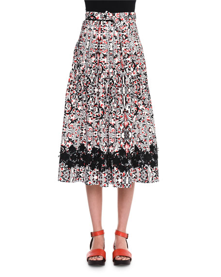 Tomas Maier High-Waist Printed Full Skirt, Chalk/Black/Fire