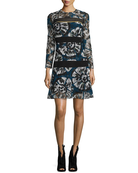 Burberry Prorsum Macrame-Stripe Tie-Dye Shift Dress