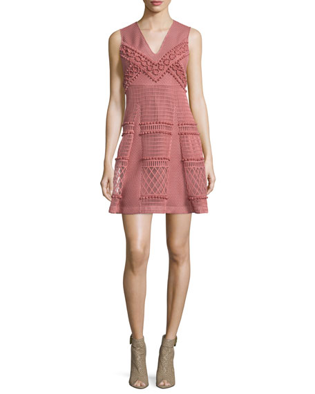 Burberry Prorsum Sleeveless Patchwork Lace Dress