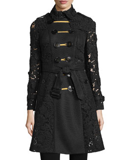Double-Breasted Macrame & Lace Trenchcoat, Black