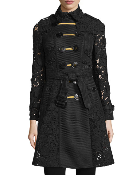 Burberry Prorsum Double-Breasted Macrame & Lace Trenchcoat, Black