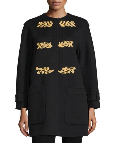 Regimental Cashmere Coat W/Appliqué, Black
