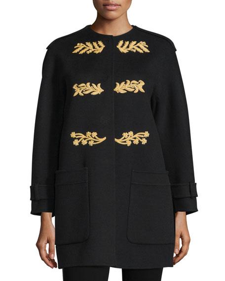 Burberry Prorsum Regimental Cashmere Coat W/Appliqué, Black