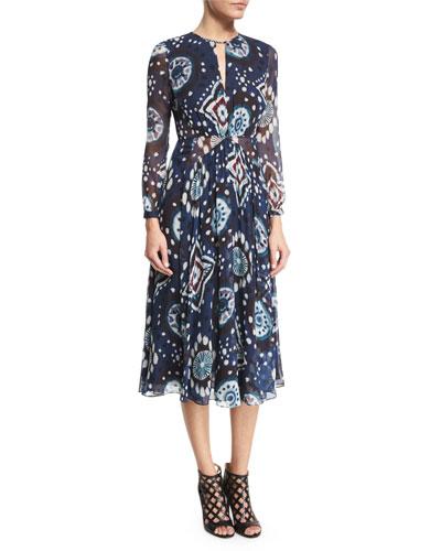 Long-Sleeve Floral Tie-Dye Midi Dress, Crepon Ink