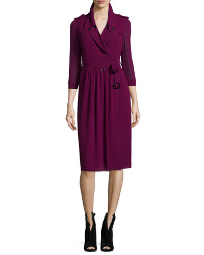 Burberry London Iconic 3/4-Sleeve Wrap Dress, Bright Burgundy