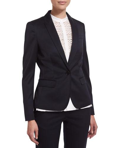 One-Button Tuxedo Jacket, Ink