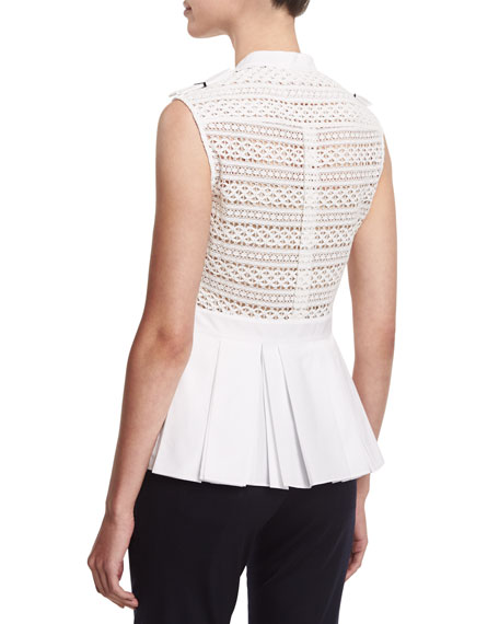 Sleeveless Button-Front Peplum Shirt, White