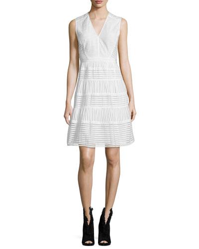 Sleeveless Striped-Panel Dress, White