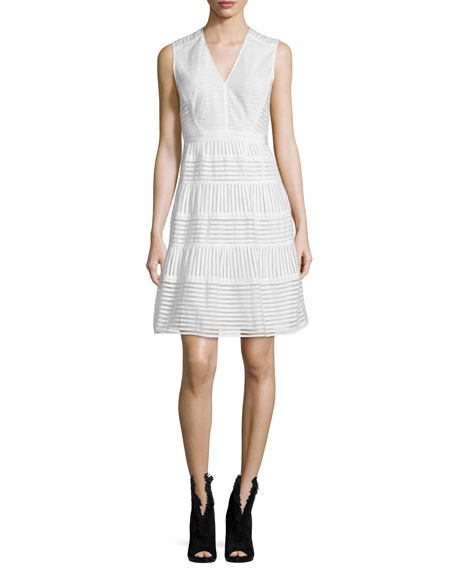 Burberry Brit Sleeveless Striped-Panel Dress, White