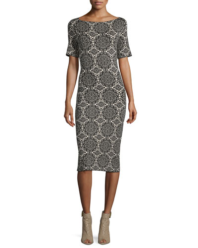 Short-Sleeve Medallion-Lace Printed Sheath Dress, Black