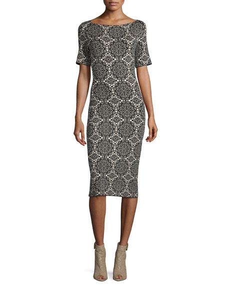 Burberry Brit Short-Sleeve Medallion-Lace Printed Sheath Dress,