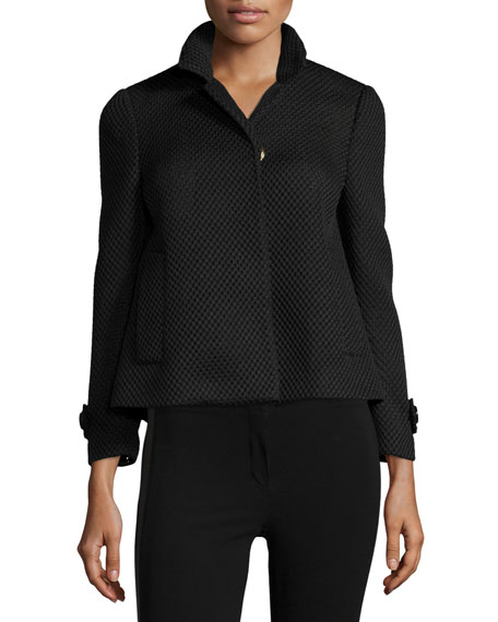 Burberry London Long-Sleeve Mesh Jacket, Black