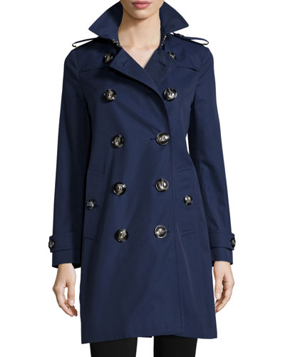 Delmont Double-Breasted Trenchcoat, Ink Blue