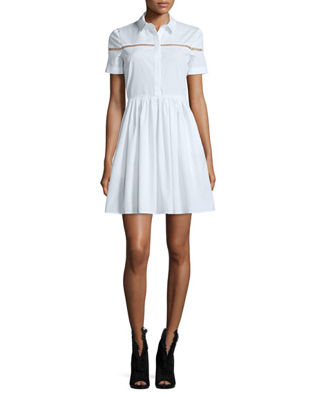 Burberry London Short-Sleeve Button-Front Shirtdress, White