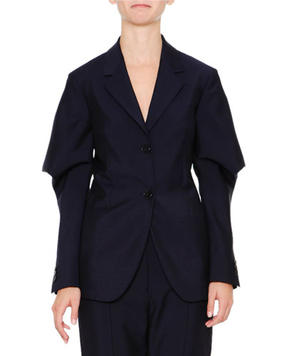 Wing-Sleeve Two-Button Jacket, Navy