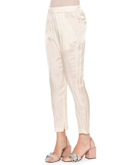 Jil Sander Anniball Slim-Leg Crushed Ankle Pants, Straw