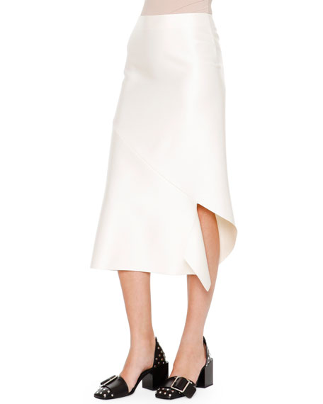 Jil Sander Albicocca Bias-Cut Swirl-Around Skirt, Off White