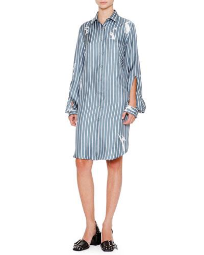 Archipelago Open-Sleeve Button-Front Shirtdress, Slate Blue