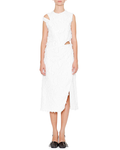 Jil Sander Antartide Sleeveless Cold-Shoulder Dress, Off White