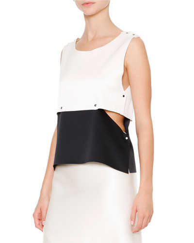 About MC Colorblock Top W/Studs, Off White/Black
