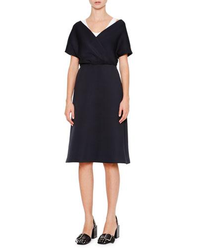 Cap-Sleeve Faux-Wrap Dress, Navy/White