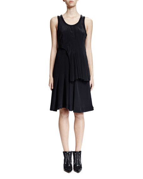 Givenchy Sleeveless Scoop-Neck Tiered Dress, Black