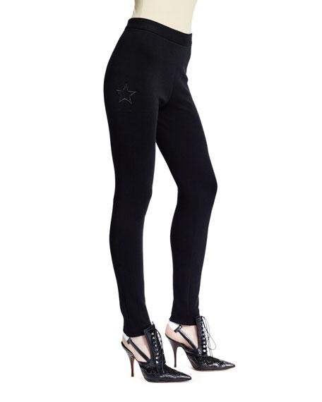 Star-Motif Punto Milano Leggings, Black