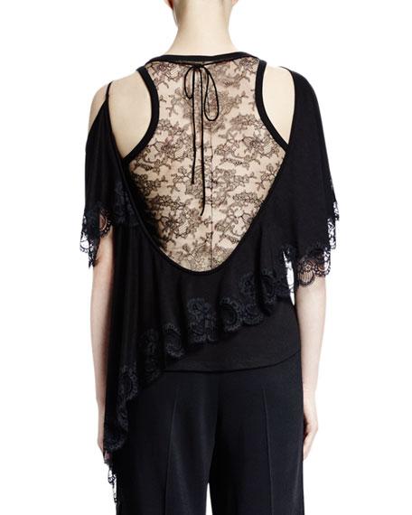 Cold-Shoulder Scoop-Back Lace Top, Black
