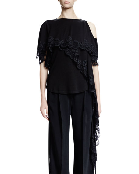 Givenchy Cold-Shoulder Scoop-Back Lace Top, Black