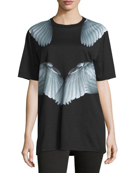 Givenchy Short-Sleeve Wing-Print Tee, Black