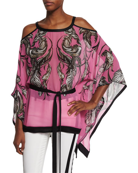 Roberto Cavalli Cold-Shoulder Feather-Print Tunic Top, Black/Pink