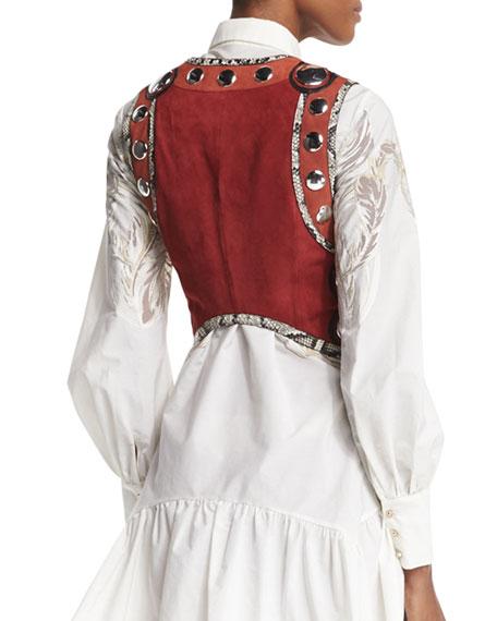 Embellished Snake-Trim Cropped Vest, Ruby/Terracotta